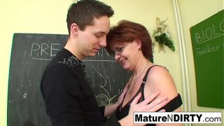 Student fucks his much older teacher